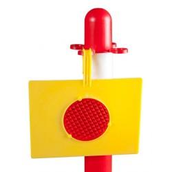 Závěsná žlutá výstražná bezpečnostní tabule ke sloupku