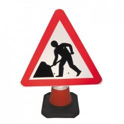 Výstražná trojúhelníková značka k dopravnímu kuželu