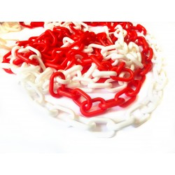 5 mm Plastový řetěz bílo - červený.